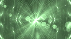 Moving gloss particles on green background. Stock Footage