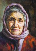 Oil portrait of a grandmother with her scarf. Stock Illustration