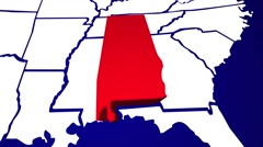 Alabama AL United States of America 3d Animated State Map Stock Footage