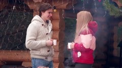 Stock Video Footage of Happy couple and barbeque in winter
