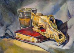 oil painting on canvas of a glass cup, a book and a skull. - stock illustration