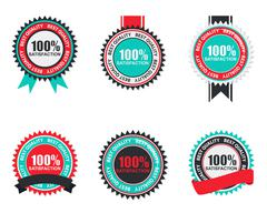 Stock Illustration of Vector 100% Satisfaction Quality Label Set in Flat Modern Design