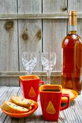 Dessert sweet liqueur wine, two cups with espresso coffee and amandel cantucc - stock photo