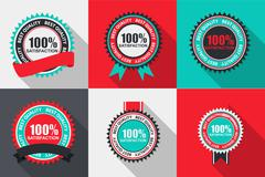 Vector 100% Satisfaction Quality Label Set in Flat Modern Design - stock illustration