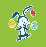 Easter Rabbit Icon Egg Design Flat - stock illustration