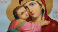 The icon of the image of the virgin. Closeup Stock Footage
