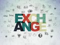 Banking concept: Exchange on Digital Paper background - stock illustration