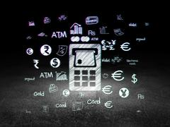 Currency concept: ATM Machine in grunge dark room - stock illustration