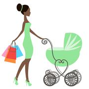 Vector of modern mommy with vintage  baby carriage, online store, logo Stock Illustration