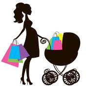 vector of modern pregnant mommy with vintage  baby carriage, online store, logo - stock illustration