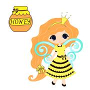 fairytale sweetheart Princess bee, cartoon girl. Vector cute hand drawing honey - stock illustration