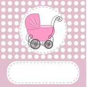 Baby shower girl announcement, baby carriage invitation abstract flowers, vec - stock illustration