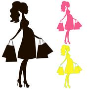 vector illustration of modern pregnant mommy, the woman does the shopping onl - stock illustration