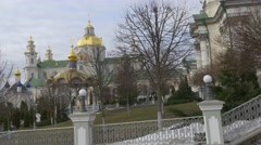 Panorama of a Church Buildings Courtyard Dormition Cathedral Holy Dormition - stock footage