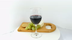Wine, cheese, grape, crackers, food on white background - stock footage