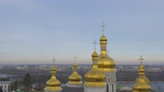 Golden Cupolas With Crosses River Holy Dormition Kiev-Pechersk Lavra Dormition - stock footage