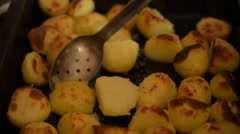 Roast Potatoes In a Baking Tray Stock Footage