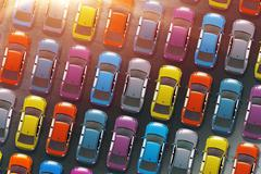 Colorful Cars Inventory. Dealership Cars in Stock 3D Illustration. Aerial Vie - stock illustration