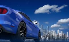 Concept Car and the Skyline Abstract 3D Illustration. Driving Concept. - stock illustration