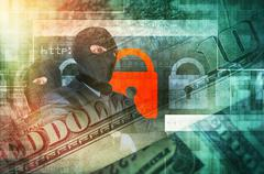 Cyber Crime Concept Illustration. Professional Hackers in Black Masks - stock illustration