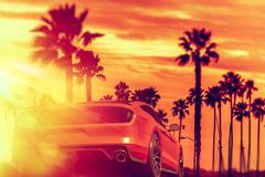 Exotic Car California Sunset Boulvard Ride. Red Sporty Exotic Car on the Road - stock illustration