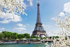 eiffel tour over Seine river - stock photo