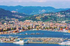 La Spezia Cityscape and the Gulf. La Spezia Italy Summer Sunny Day. - stock photo