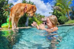 Child with dog dive underwater in swimming pool - stock photo