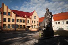 Monument to Lithuanian poet Maironis in Kaunas - stock photo