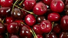 Red juicy cherries on the plate. the clockwise rotation. shooting with the top. Stock Footage