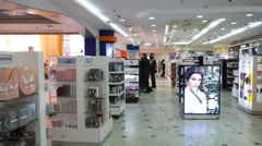 Duty free area in arab airport Stock Footage