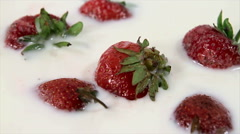 Strawberry in cream rotate clockwise Stock Footage