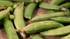Juicy pods closeup and falling green peas Stock Footage