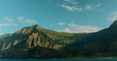 Mountain landscape sailing along Na Pali coast in Kauai Stock Footage
