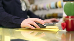 Closeup. Woman hand is on the PC mouse. - stock footage