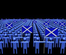 Crowd of abstract people with many Scottish flags illustration Stock Illustration