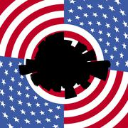 Denver circular skyline with American flag illustration Stock Illustration