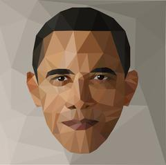 portrait Barack Obama U.S. president low poly USA - stock illustration
