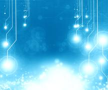 Blue circuit board - stock illustration