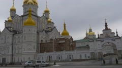 Cars Are Parked at Transformation Cathedral Panorama Holy Dormition Pochiv - stock footage