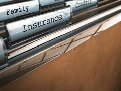 Insurance folder, family security - stock illustration