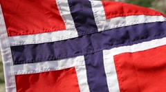 Norwegian flag waves in the wind Stock Footage