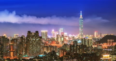 Financial district in taipei at night(dolly right) - stock footage