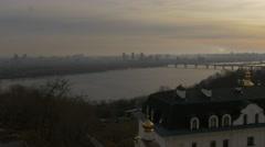 Sun Shines Holy Dormition Kiev-Pechersk Lavra Ukraine Sun Through Clouds Dnepr - stock footage