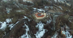 Castle fortress BIP aerial view Stock Footage