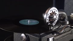 Old record playing on the gramophone Stock Footage