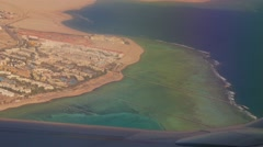 egyptian coast line with hotels and coral reef - stock footage