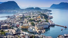 Stock Video Footage of 4k, Timelapse, view on Aksla mountain, Alesund, Norway