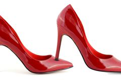 Woman red shoes Stock Photos