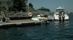 Water Front House with Docked Boat - stock footage
